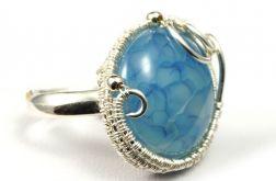 Regulowany, srebrny pierścionek z agatem