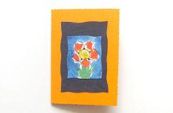 Kartka oranżowa z kwiatkiem 14