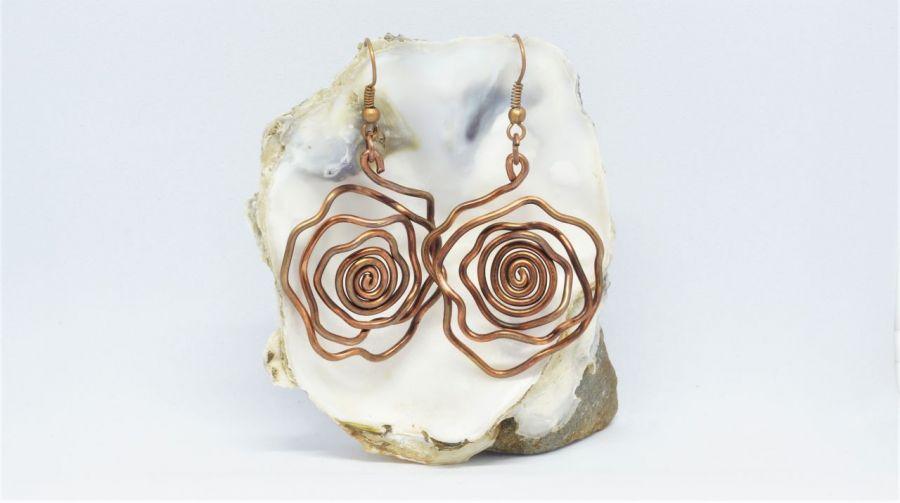 Miedziane róże - kolczyki