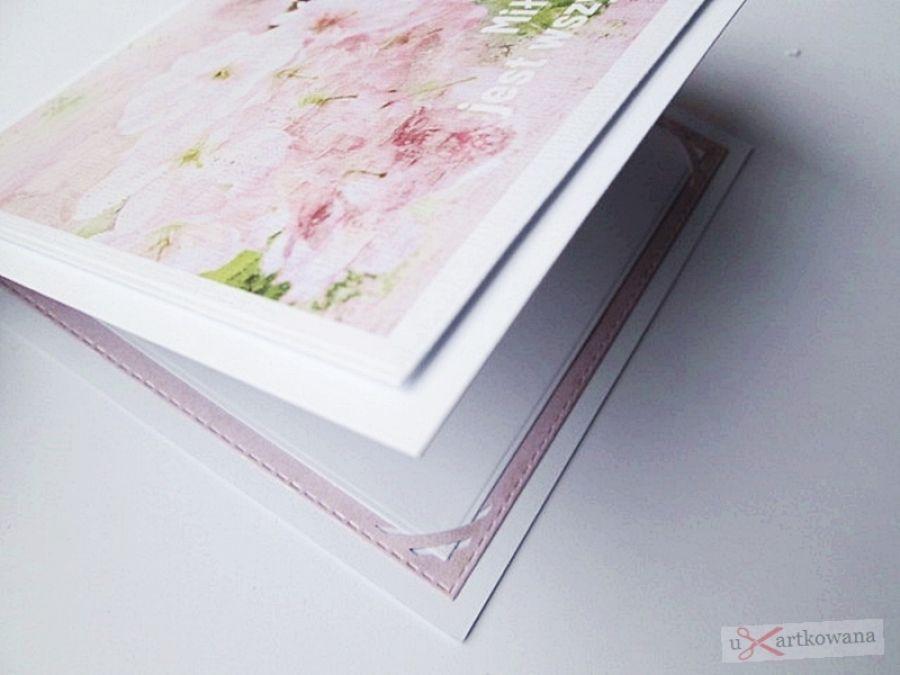 Kartka ŚLUBNA z grafiką - jasnoróżowa - Kartka na ślub z kwiatową grafiką