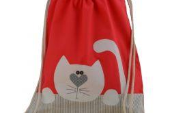 plecak worek kotek z imieniem do przedszkola
