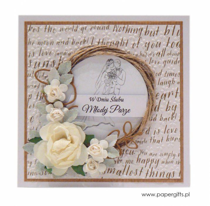 Kartka ślubna wianek z różami - złote napisy