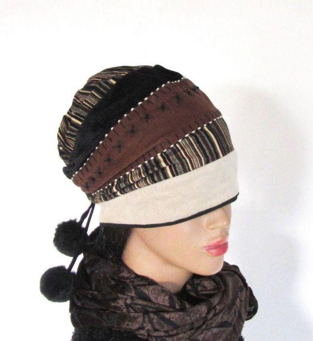 czapka beanie sztuka hand made