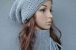komplet - czapka i szaliczek wiązany - kolory