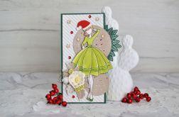 Kartka świąteczna z Mikołajką zielona