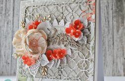 Szaro-czerwona kartka ślubna