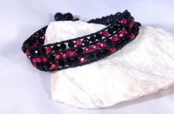 Sznurkowa bransoletka w czerni i czerwieni
