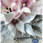 Kartka z pudełkiem z okazji urodzin, imienin 003 - Z ręcznie robionymi kwiatami