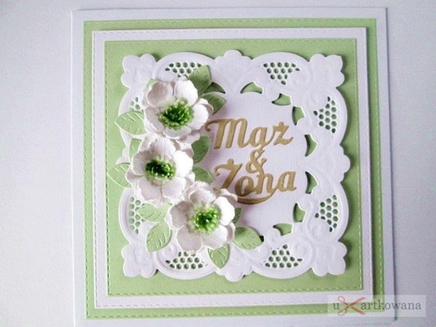 Kartka MĄŻ & ŻONA z białymi kwiatami