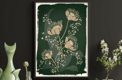 Kwiaty w zieleniach 50x70cm