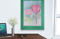 Rysunek z kwiatami na ciemnozielonym tle nr 3