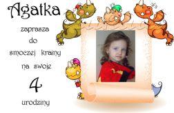 Zaproszenie na urodziny dziecka ze zdjęciem na 2,3,4,5,6,7,8,9 itd Do smoczej krainy