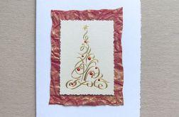 kartka na Boże Narodzenie-złota choinka