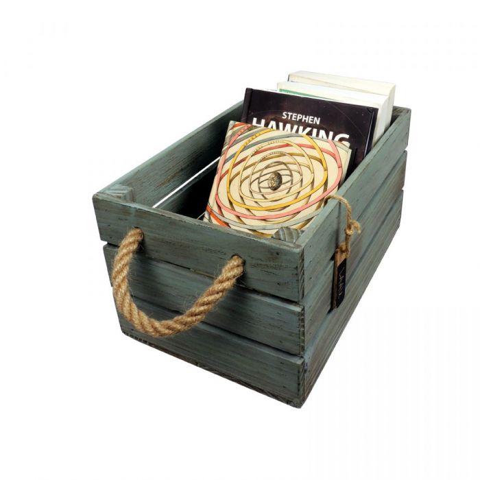 Skrzynka drewniana brąz - turkus 20x31x16,5 - Pojemnik na książki