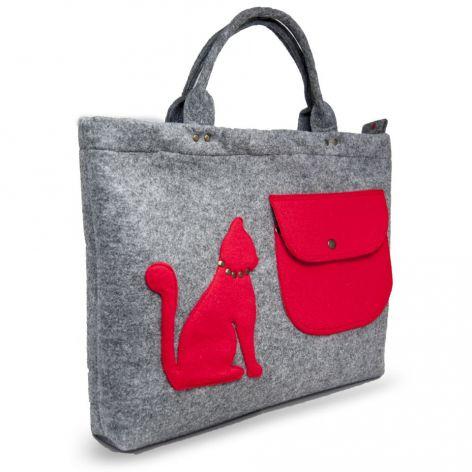 Torba, torebka na laptopa  czerwony kotek