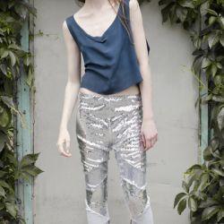 Srebne leginsy cekinowe / SILVER sequined leggings