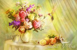Obraz - Letni powiew - płótno, owoce, kwiaty