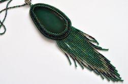 Wisior z plastrem agatu - zielony