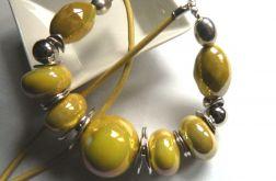 Porcelana i srebro, okazały naszyjnik, żółty