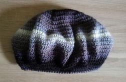 szydełkowy beret wełniany retro melanżowy