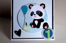 Kartka na Roczek dla dziewczynki miś panda