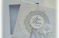 Kartka pamiątka ślubu pudełko srebro