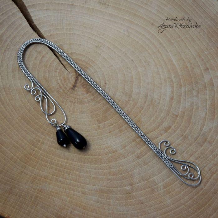 Zoakładka do książki wire wrapping onyks - Wykonana techniką wire wrapping ze stali chirurgicznej