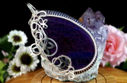 Srebrny wisior z Agatem Fire Ognistym fiolet