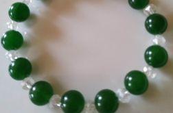 """Bransoletka """"Zielona głębia""""z perskiego jadelitu i kryształków"""