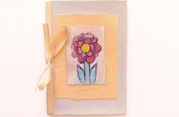 Kartka z kokardką i z kwiatkiem malow. nr31