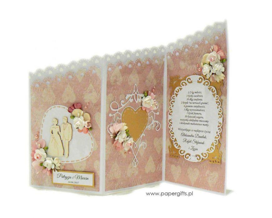 Kartka ślubna kaskadowa na prezent - Kaskadowa kartka na ślub