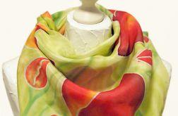 Chusta jedwabna ręcznie malowana -Tulipany II