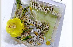 Kartka Wielkanocna zielona z kwiatkiem