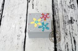pudełko mini szare kwiaty