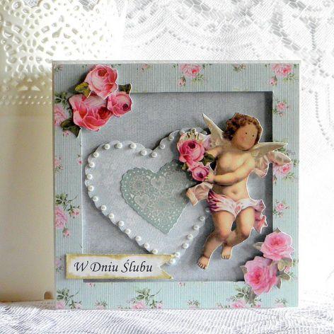 Kartka ślubna - niebieskie serce