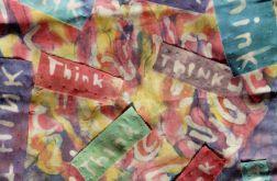 batik,dekoracja wisząca ścienna think abstrac