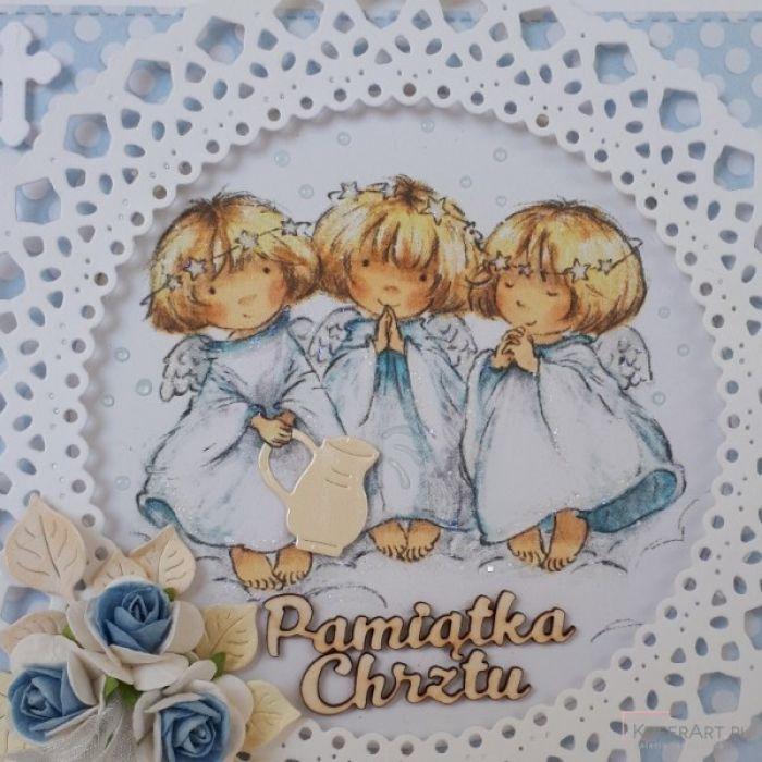 Kartka na chrzest z aniołkami