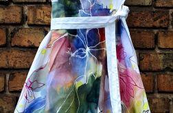 recznie malowana sukienka kwiaty