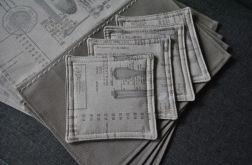 Podkładki pod kubki - sztućce i menu - 4 sztuki