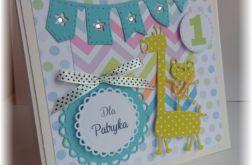 Ekstra kartka na roczek dla chłopca żyrafka