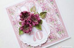 Kartka URODZINOWA z różowymi kwiatami #2