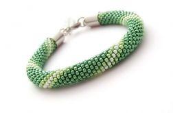 Bransoletka wąż zielono-beżowa1