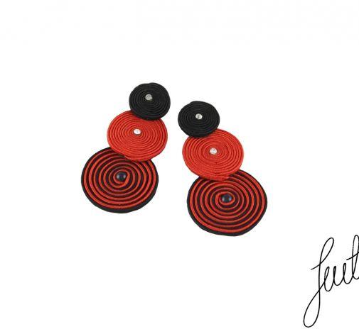Kolczyki soutache, spirale czerwień i czerń