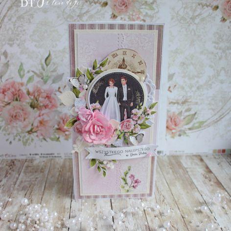"""Kartka ślubna DL """"Black&White Wedding"""" GOTOWA"""