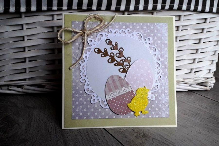 Kartka na Wielkanoc pisanki ręczne robiona