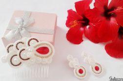 Czerwona biżuteria ślubna SWAROVSKI, komplet ślubny sutasz