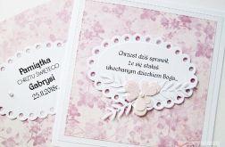 Kartka NA CHRZEST ŚWIĘTY różowa