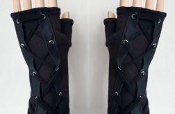 Rękawiczki mitenki czarne, wiązane Rock