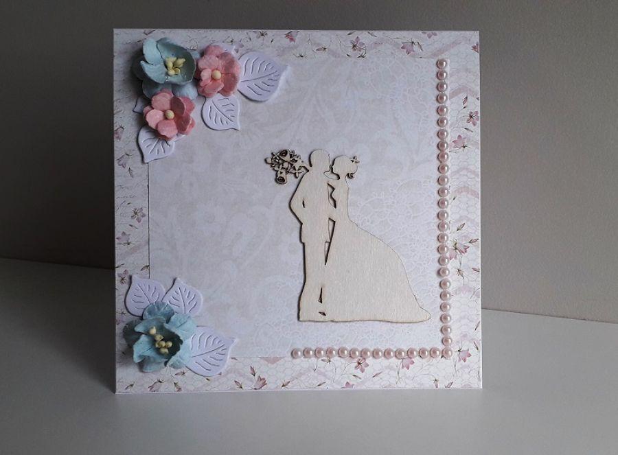 Kartka ślubna szaro-różowa para młoda delikat