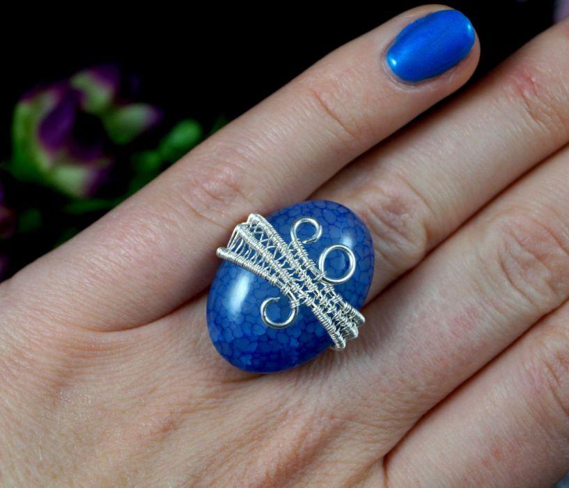 Agat dragon, srebrny pierścionek z agatem - Agat, Srebrny pierścionek z agatem dragon vein regulowany, prezent dla niej prezent dla mamy, prezent dla kobiety handmade pomysł na prezent